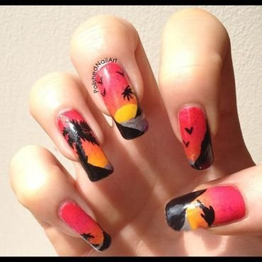 Sunset (painted with non dominant hand) nail art by Carrie