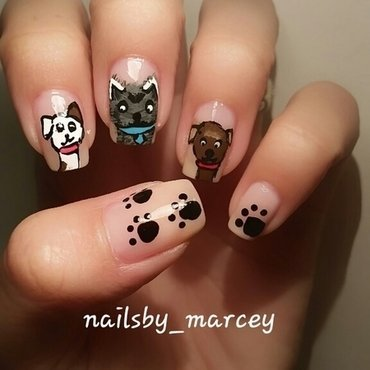 Happy National Dog Day nail art by Marcela