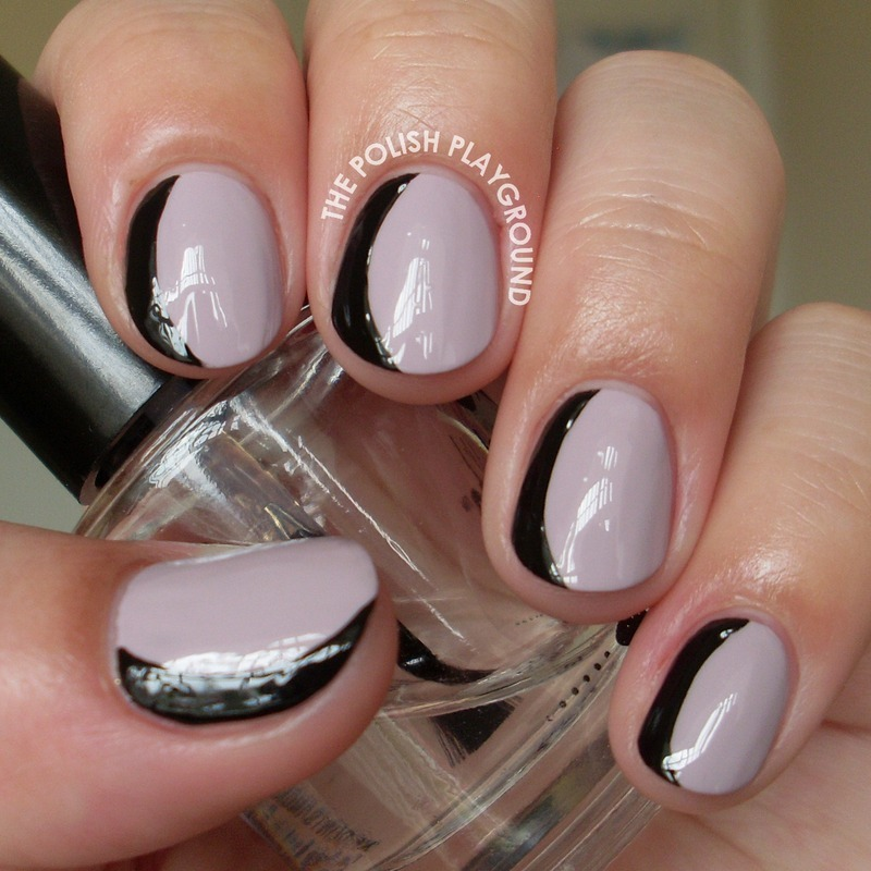 Purple and Black Sideways French Manicure nail art by Lisa N
