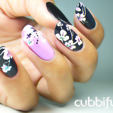 Tropical flowers floral nails 4 thumb370f