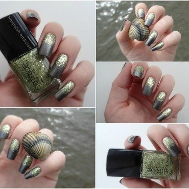 glitter and shells nail art by Nailpolish addicted