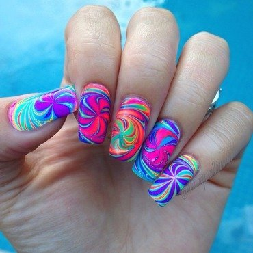 Psychedelic pinwheel watermarble  nail art by Lilly