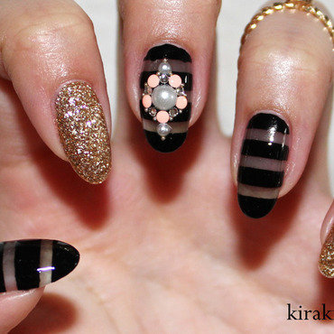 Sheer Black Nails nail art by Kira Kira