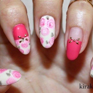 Matte Roses  nail art by Kira Kira