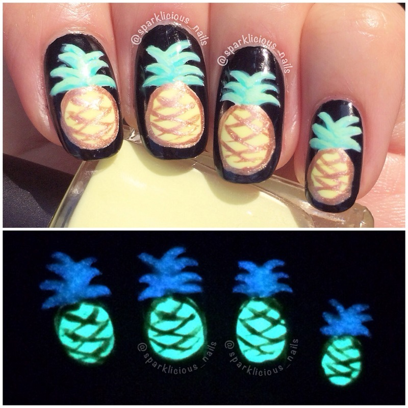 """Glowing Pineapples nail art by Amanda """"Sparklicious Nails"""""""