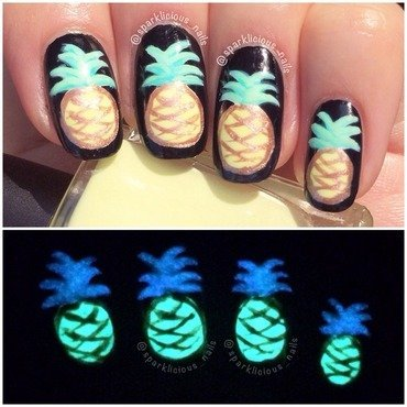 "Glowing Pineapples nail art by Amanda ""Sparklicious Nails"""
