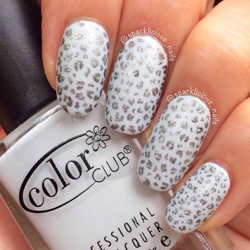 "Mini Snow Leopard nail art by Amanda ""Sparklicious Nails"""