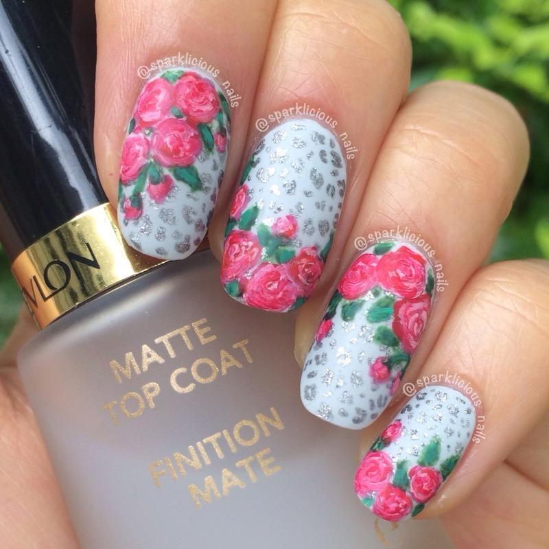 "Roses on Mini Leopard nail art by Amanda ""Sparklicious Nails"""