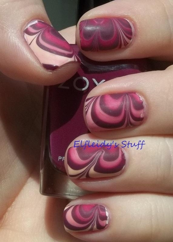 Fall-ish water marble nail art by Jenette Maitland-Tomblin