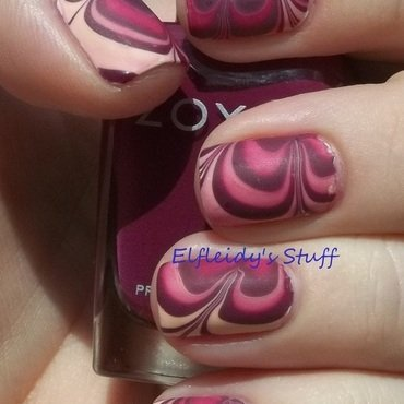 Fall-ish water marble nail art by Jenette Maitland-Tomblin