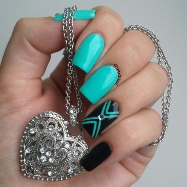 Teal for Pshiiit nail art by retronail