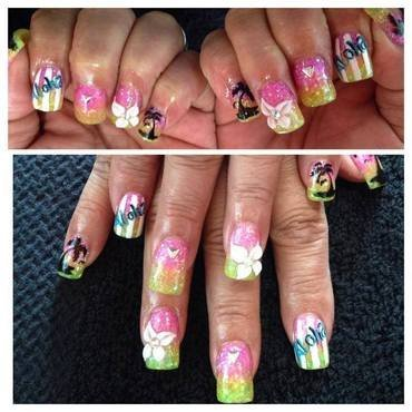 Party on the Beach nail art by Beth Marie