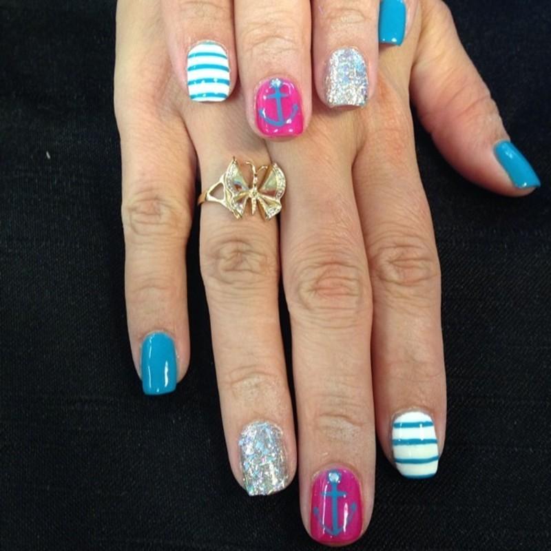 Ahoy Girlies nail art by Beth Marie