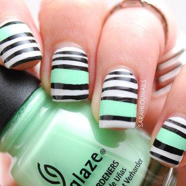 Black, White & Mint Stripes nail art by Sarah S