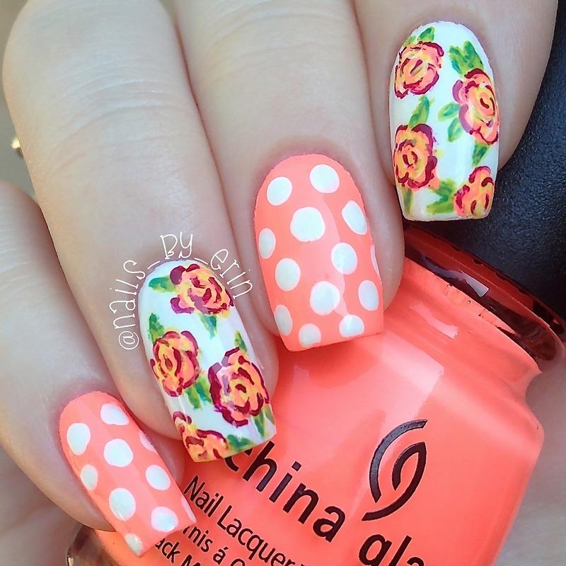 Summer Floral and Polka Dot Nails nail art by Erin