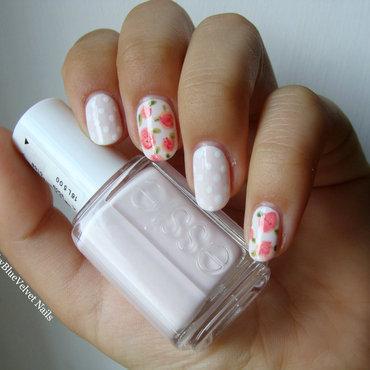 Vintage Roses nail art by Sky Blue Velvet Nails