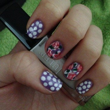 Dots and Roses nail art by Becky H