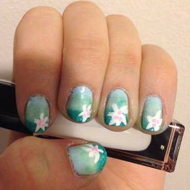 Blue Gradient Floral nail art by Becky H