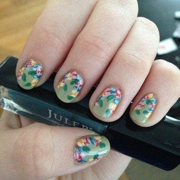 Rose Floral Border  nail art by Becky H