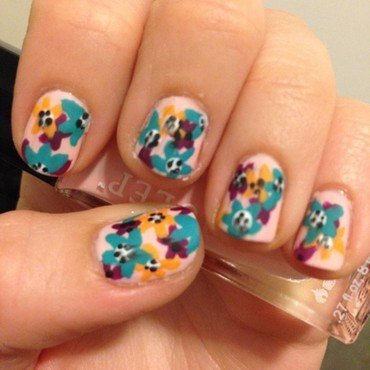 Summer Floral nail art by Becky H