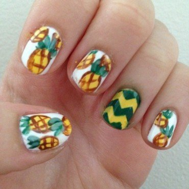 Pineapple fun! nail art by Becky H