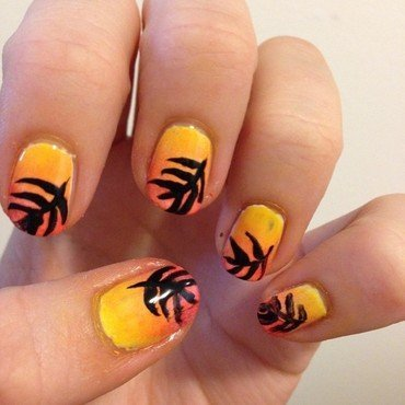 Sunset gradient and leaves nail art by Becky H