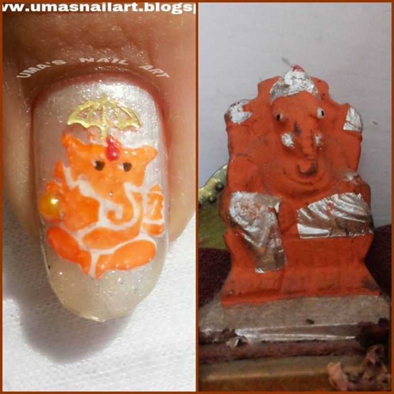 LORD GANESHA nail art by Uma mathur