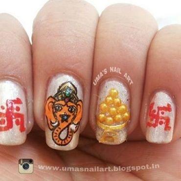 Lord Ganesha ji nail art by Uma mathur