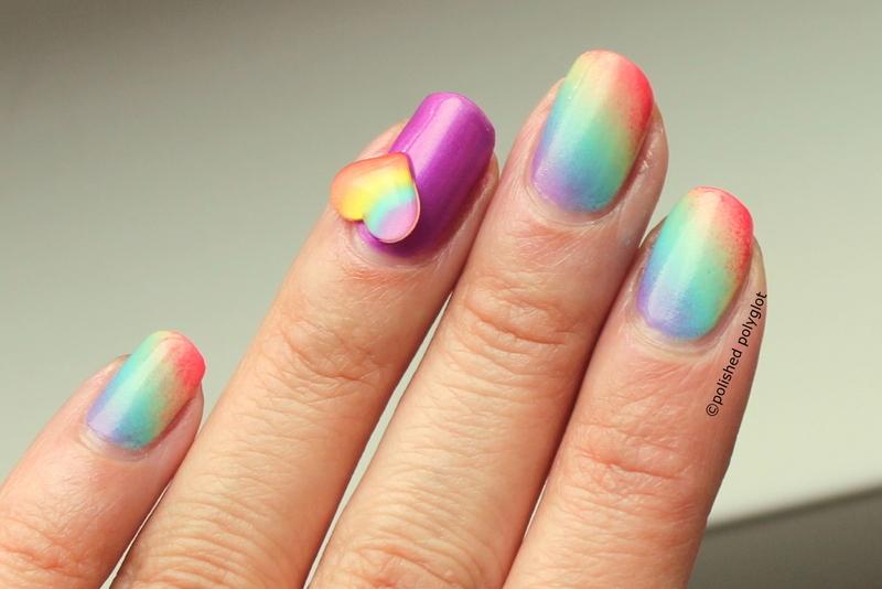 Heart & rainbows nail art by Polished Polyglot