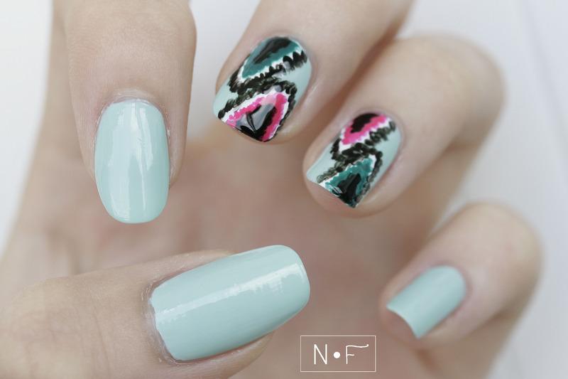 Ikat nails nail art by NerdyFleurty