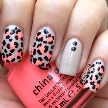 Nude/Neon Leopard Print nail art by Melissa