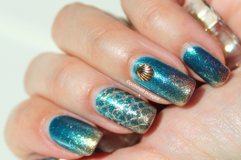 Galactic glam under the sea nail art by Polished Polyglot