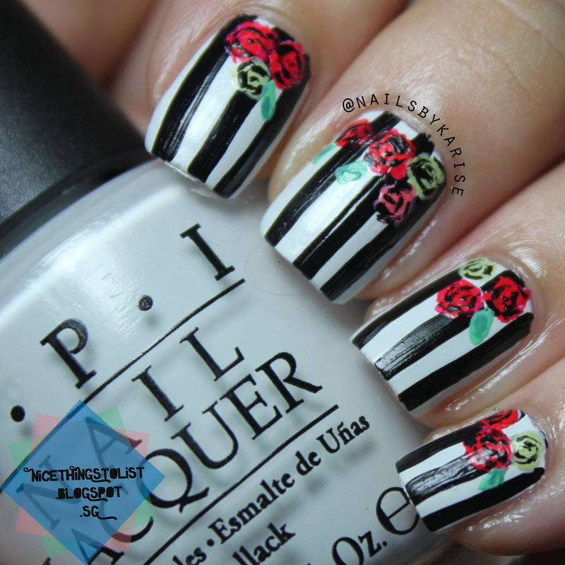 Black and White Stripes with Floral nail art by Karise Tan