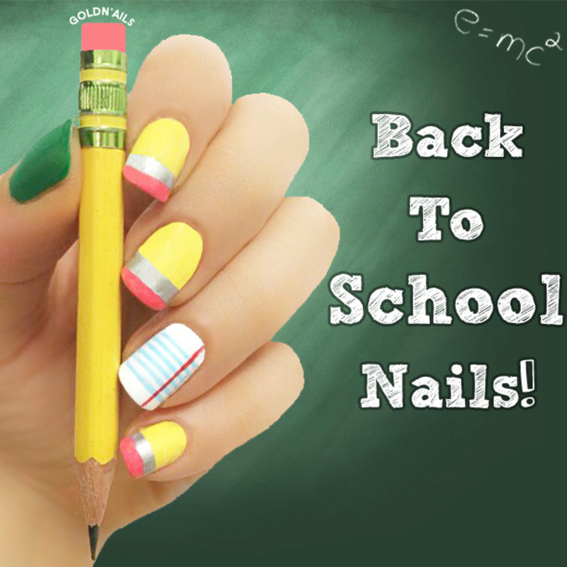 Back To School Nails! nail art by Goldi