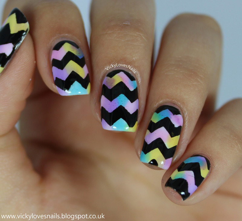 Sheer Tint Chevrons nail art by Vicky Standage