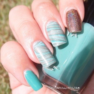 Turquoise Rainbow nail art by Pocketfulofpolish