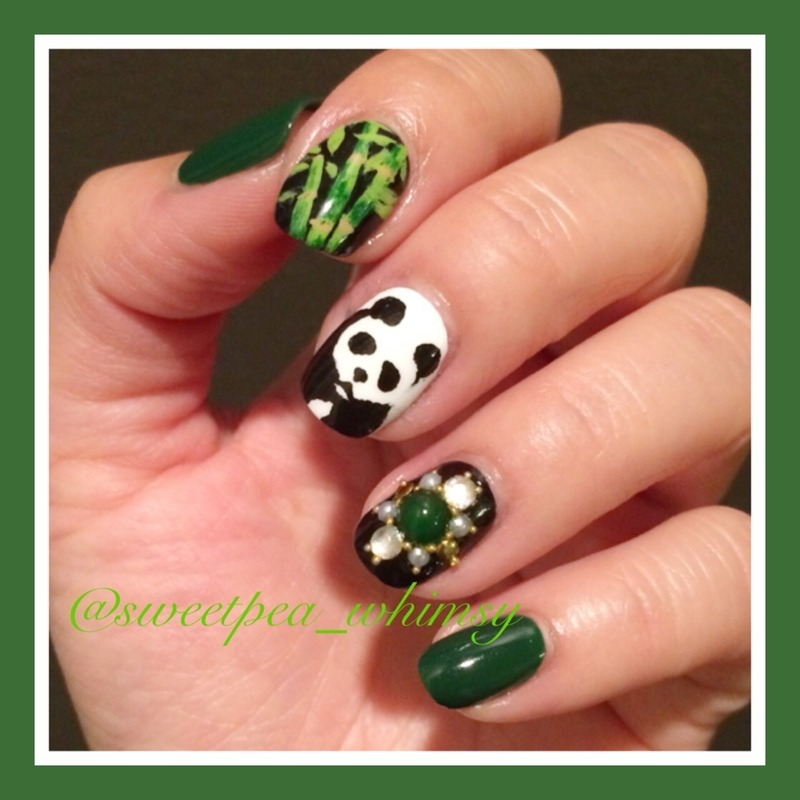 🐼 Panda & Green Bamboo nail art by SweetPea_Whimsy