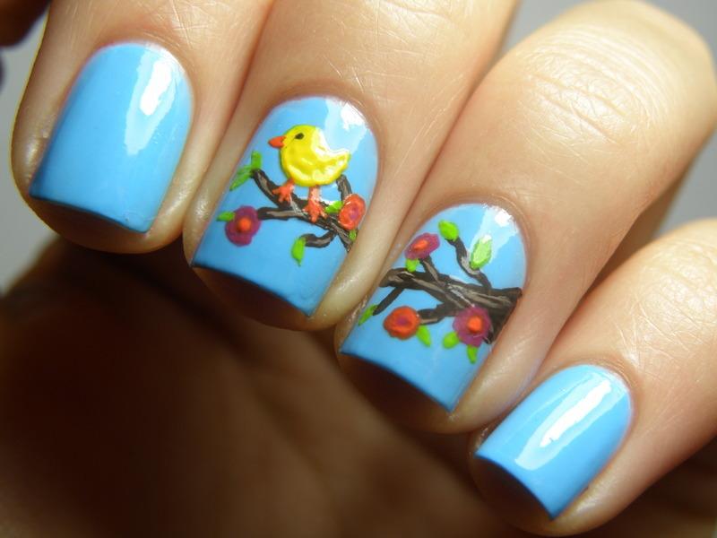 Little bird nail art by Michelle Mullett