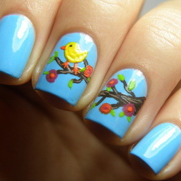 Little bird nail art by Michelle Mullett