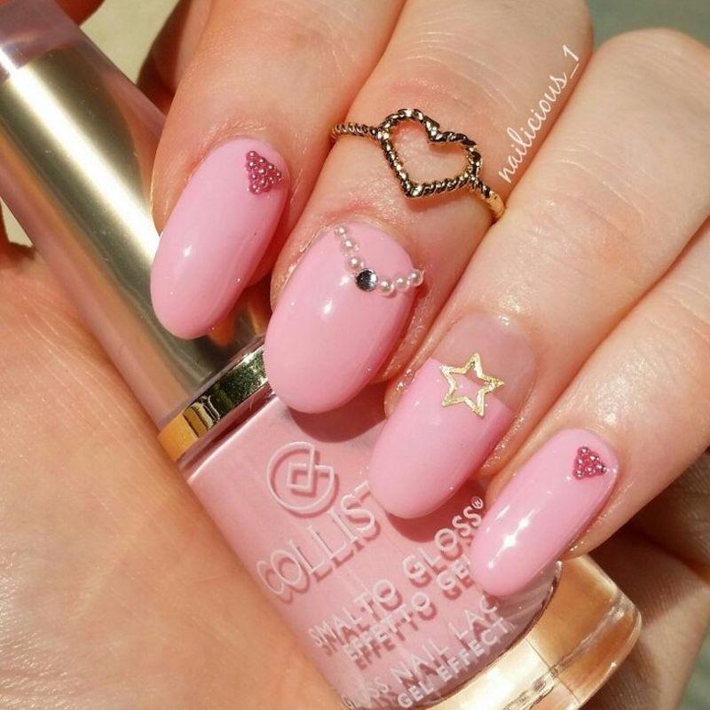 Pink nail art by nailicious_1