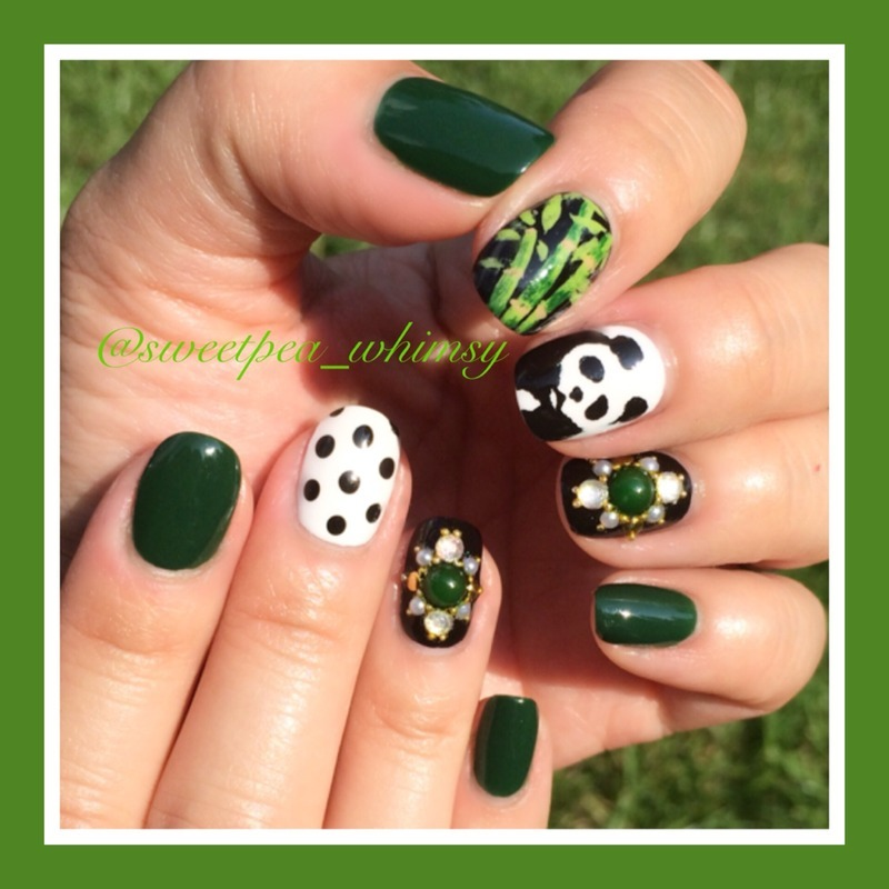 Panda & Green Bamboo (Outside) nail art by SweetPea_Whimsy