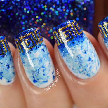 Greek waters using the saran wrap technique and water decals nail art by simplynailogical