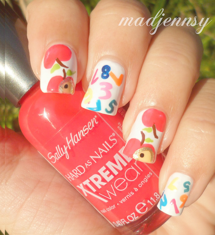 Back To School Nails Apples Numbers Nail Art By Madjennsy Nail