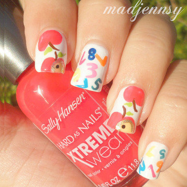 Back to School Nails - Apples & Numbers!  nail art by madjennsy Nail Art