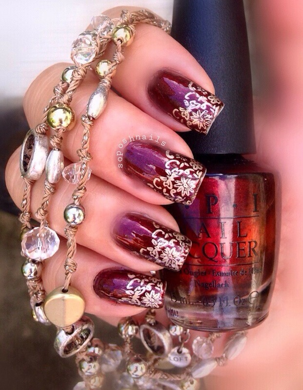 Vampy Nails and Gold Lace French Tip nail art by Debbie