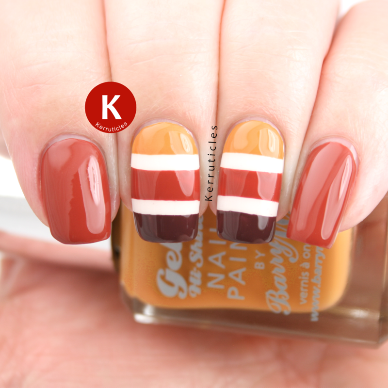 Autumnal stripes nail art by Claire Kerr