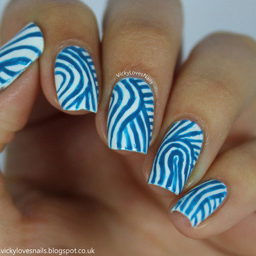 Abstract Blue and White Stripes nail art by Vicky Standage