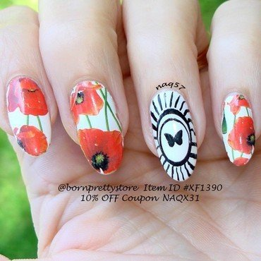 Poppies & Butterfly nail art by Nora (naq57)