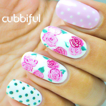 Roses & Polka Dots With Inocos - Solo Shot nail art by Cubbiful
