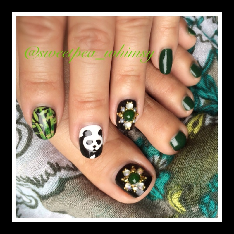 Emerald Panda Mani/Pedi nail art by SweetPea_Whimsy